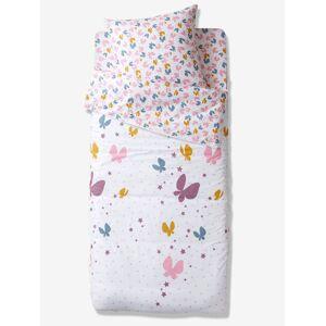 Conjunto pronto-a-dormir sem edredon, tema Voo de borboletas branco claro liso com motivo