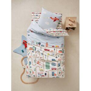 Conjunto capa de edredon + fronha de almofada para criança, tema Auto-city estampado carros