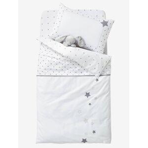 Capa de edredon para bebé, tema Chuva de estrelas branco / cinzento