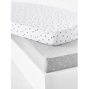 Lote de 2 lençóis-capa para bebé, em jersey extensível, estampado às estrelas cinzento claro estampado