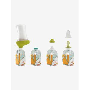 Pack de recipientes reutilizáveis + acessórios da BABYMOOV Foodii branco claro liso com motivo