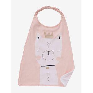Babete grande para criança rosa claro liso com motivo