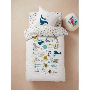 Conjunto capa de edredon + fronha de almofada para criança, tema Abecedário de animais marinhos branco claro liso com motivo