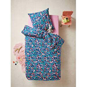 Conjunto capa de edredon + fronha de almofada, tema SWEET TROPIK azul escuro estampado