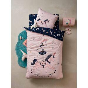 Conjunto capa de edredon + fronha de almofada MAGIC CIRCUS rosa claro liso com motivo