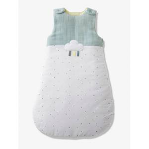 Saco de bebé, sem mangas, tema Menthe a l'eau branco claro liso com motivo