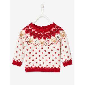 Camisola jacquard de Natal, para bebé branco claro liso com motivo
