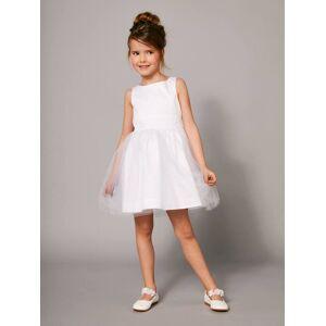 Vestido de cerimónia em cetim e tule, para menina branco