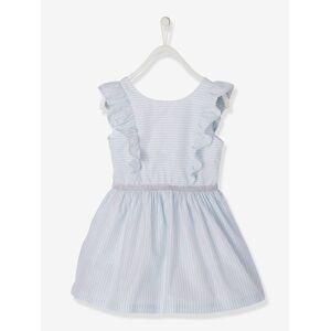 Vestido com folhos e riscas irisadas, para menina branco claro as riscas