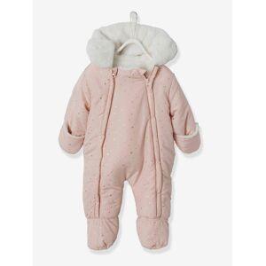 Macacão com dupla abertura total, para bebé rosa medio estampado