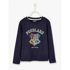 Camisola Harry Potter® de mangas compridas, para menino azul escuro liso com motivo