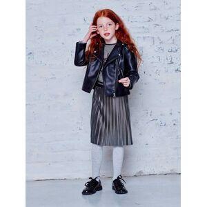 Blusão estilo perfecto, para menina preto escuro liso