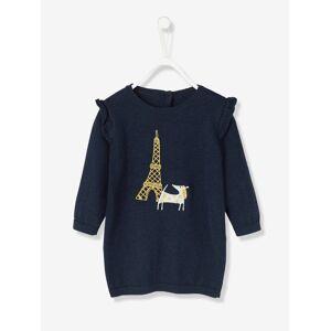 Vestido para bebé em tricot com bordado cão azul-escuro