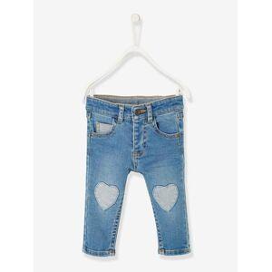 Jeans com emblemas em forma de coração, para bebé menina azul escuro desbotado