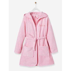 Roupão de banho com capuz, personalizável, para criança rosa