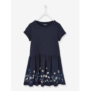 Vestido de mangas curtas, para menina azul escuro estampado