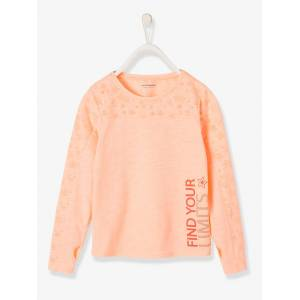 Camisola de desporto de mangas compridas, para menina rosa medio liso com motivo