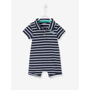 Macacão de praia com gola polo para bebé menino azul escuro as riscas