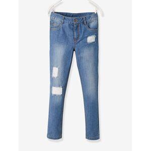 Jeans direitos morfológicos, fantasia, para menina, medida das ancas MÉDIA azul escuro desbotado