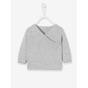 Casaco em tricot de algodão bio, para recém-nascido cinzento claro mesclado