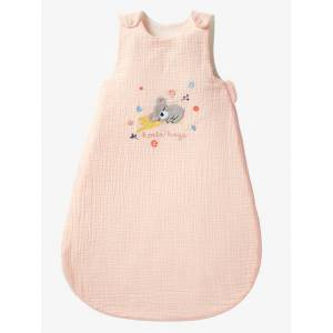 Saco de bebé de verão, sem mangas, tema Koala hugs rosa claro liso com motivo