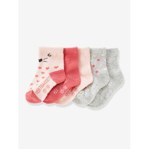 Lote de 5 pares de meias para bebé rosa claro bicolor/multicolor