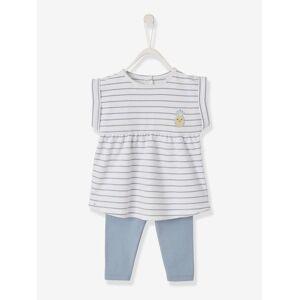 Conjunto vestido estampado + leggings, para bebé menina azul medio as riscas