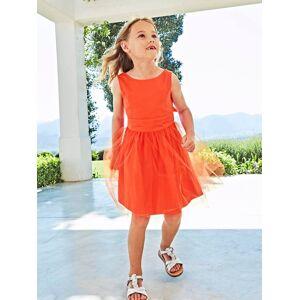 Vestido de cerimónia em cetim e tule, para menina laranja vivo liso