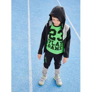 Calças de desporto, matéria técnica, para menino preto escuro liso com motivo