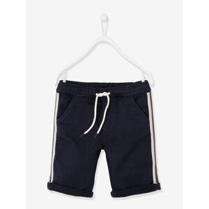 Bermudas com barras laterais, para menino azul escuro liso com motivo