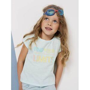T-shirt com mensagem fantasia, para menina verde claro liso com motivo