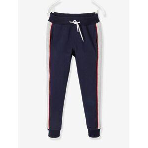 Calças de desporto, com barras laterais, para menino azul escuro liso com motivo