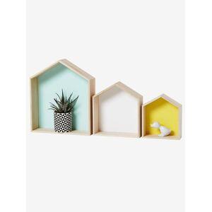 Lote de 3 estantes casinha madeira/multicolor