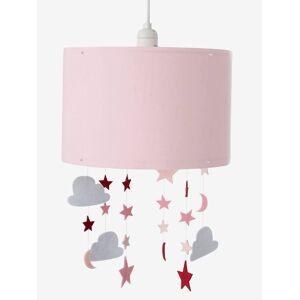 Abajur para pendurar, com estrelas e nuvens rosa liso com decoração