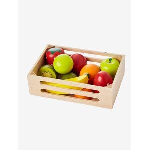 Caixa de frutas em madeira bege medio liso com motivo