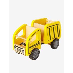 Camião basculante, em madeira amarelo medio liso com motivo