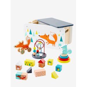 Caixa de brinquedos Raposa, multiatividades laranja medio liso com motivo
