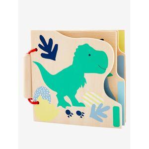VERTBAUDET Livro de atividades em madeira, O mundo dos dinossauros laranja vivo liso com motivo