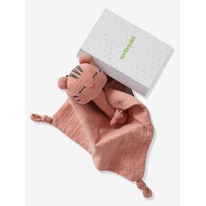 Caixa oferta com boneco doudou + roca, em tecido rosa medio bicolor/multicolor