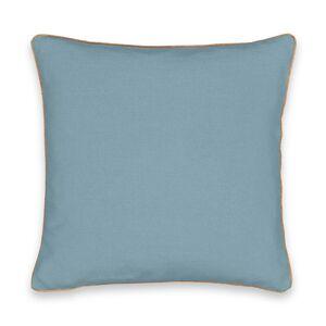 Capa de almofada em linho lavado com debrum dourado, Onega   azul-acinzentado