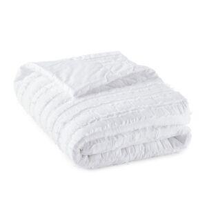 Am.pm Manta em algodão biológico, MinorkaBranco- 130 x 180 cm