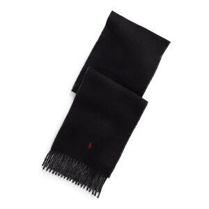 Polo Ralph Lauren Cachecol reversível em lã, com franjas   Preto