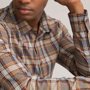 Camisa slim estampada, colarinho clássico e mangas compridas   Quadrados
