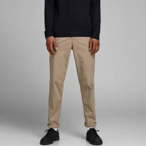 Jack & Jones Calças chino stretch, direitas e com cinto   bege