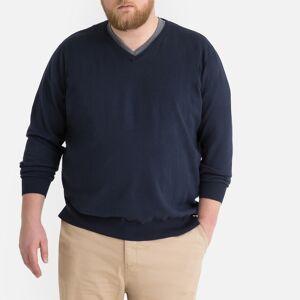 Plus Camisola em algodão, tamanhos grandes, decote em V   marinho