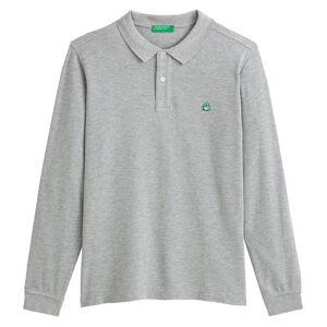 Benetton Polo com corte direito, malha piqué em algodão   Cinza Mesclado