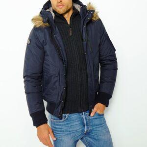Schott Blusão curto com capuz, especial inverno   Marinho