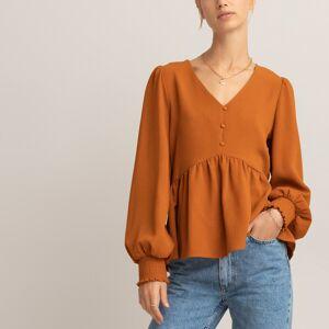 Blusa com decote em V e peplum, mangas largas   castanho camelo