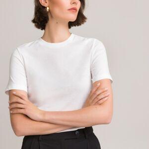 T-shirt em algodão bio, gola redonda, mangas curtas   Branco
