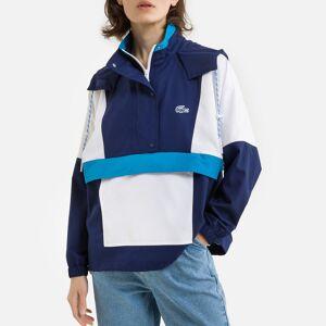 Lacoste Corta-vento com capuz e bolso central   Azul/Branco